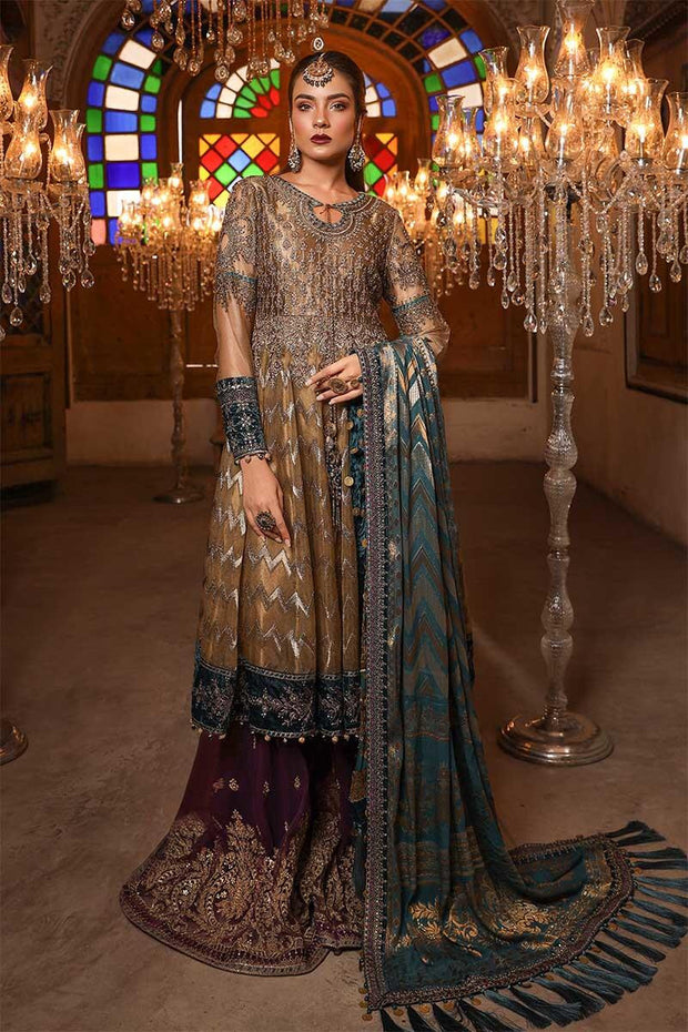 Stylish Indian wedding dress in metalic brown and teal color # P2248