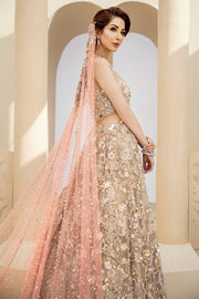 Latest beautiful indian designer wedding outfit in peach and gold color # B3456