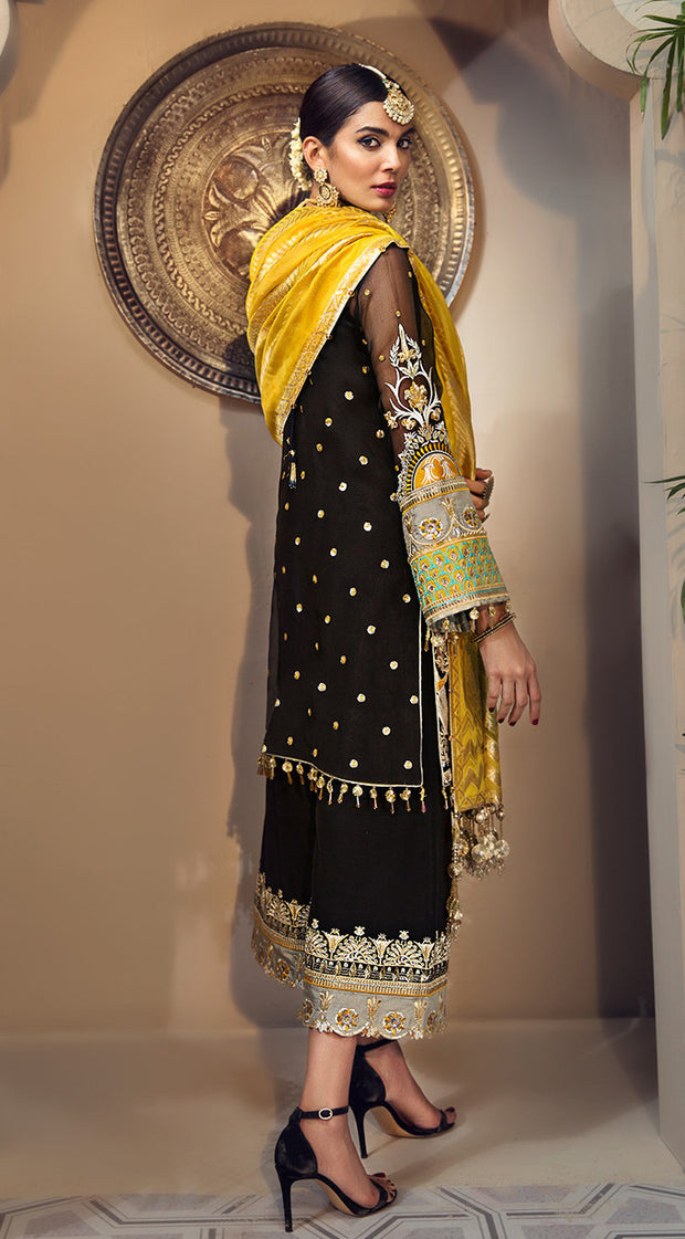 Elegant Pakistani jacquard and organza dress in black color # P2350