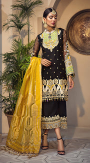 Elegant Pakistani jacquard and organza dress in black color