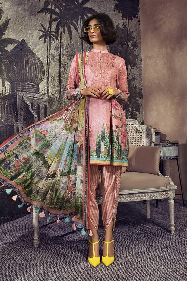 Pakistani designer karandi outfit digitally printed in pink color