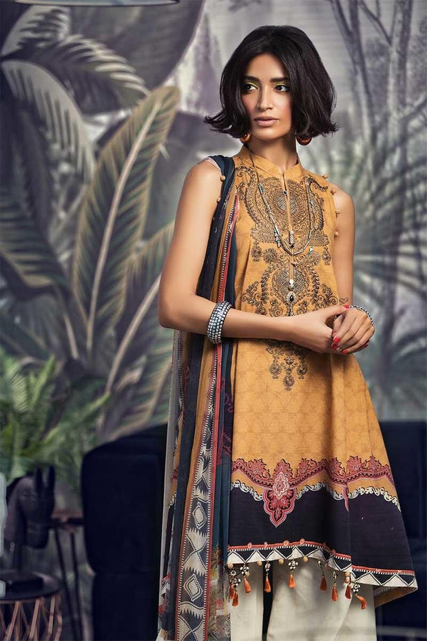 Beautiful Pakistani designer khaddar dress in mustard color # P2357