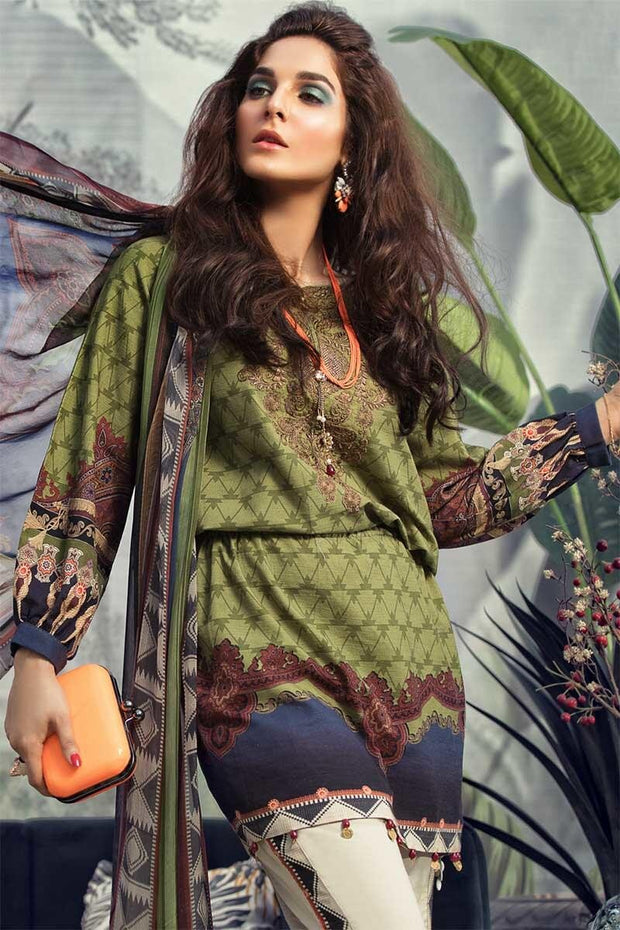 Beautiful Pakistani designer khaddar outfit in mehndi color # P2358