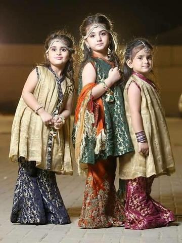 Kids Sharara With Paplam Frocks Model# Kids 1