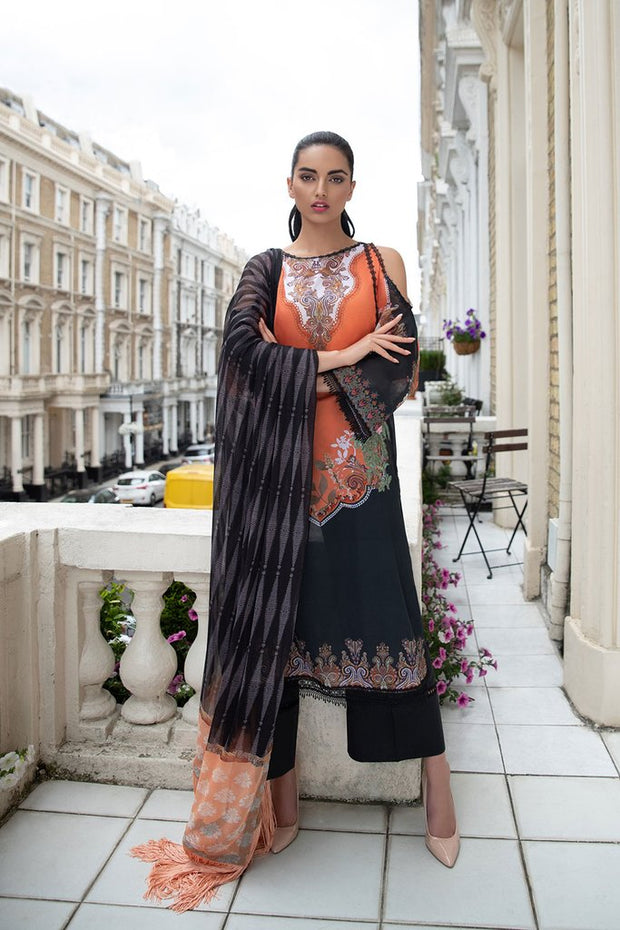 Latest Pakistani lawn dress 2020 in elegant black and orange color # E2217
