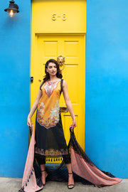 Pakistani lawn dress 2020 online in elegant black and mustard color # E2220