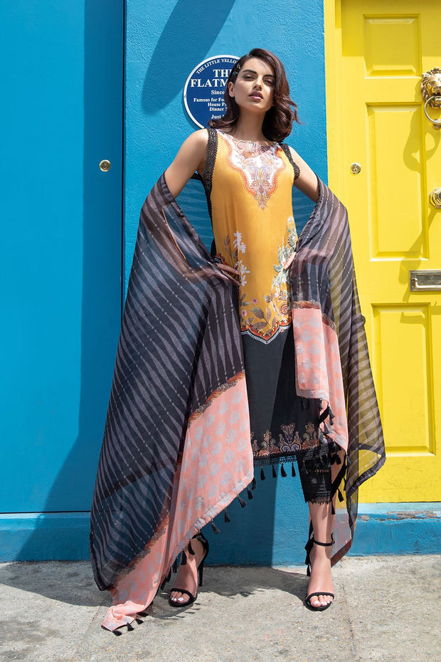Pakistani lawn dress 2020 online in elegant black and mustard color