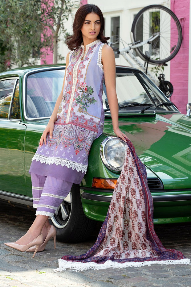 Latest Pakistani printed lawn outfit 2020 in elegant lavender color