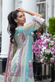 Latest Pakistani printed lawn outfit 2020 online in elegant light colors # E2219