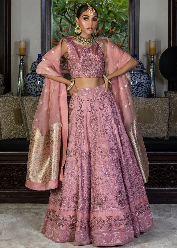 Latest Pakistani designer tea pink color lehnga dress for wedding # B3451