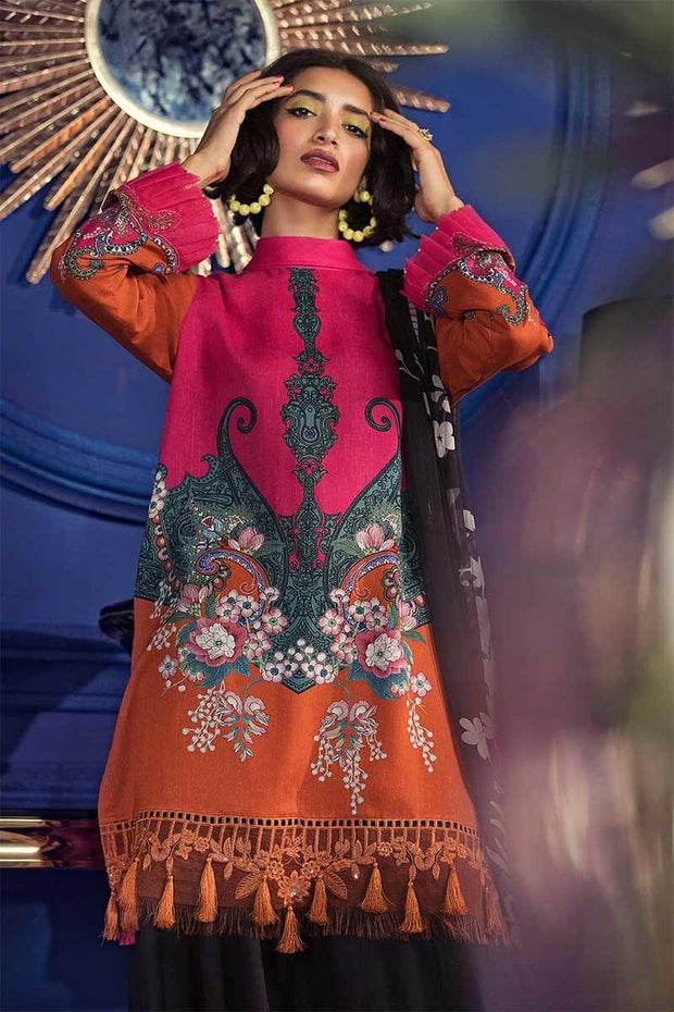 Pakistani designer linen dress in pink and orange color # P2351