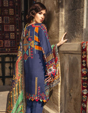 Beautiful Pakistani linen embroidered dress in dark blue color # P2405