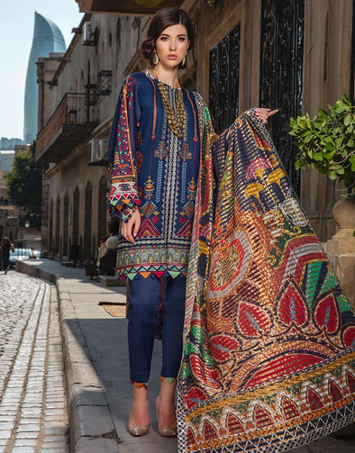 Beautiful Pakistani linen embroidered dress in blue color