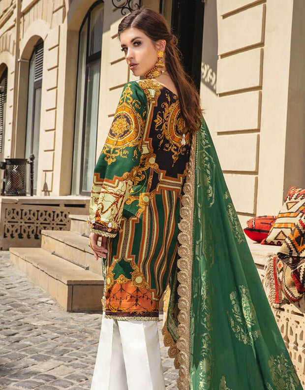 Beautiful Pakistani linen embroidered outfit in lavish green color # P2406