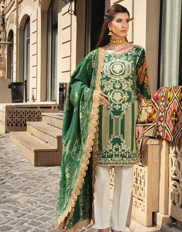 Beautiful Pakistani linen embroidered outfit in lavish green color