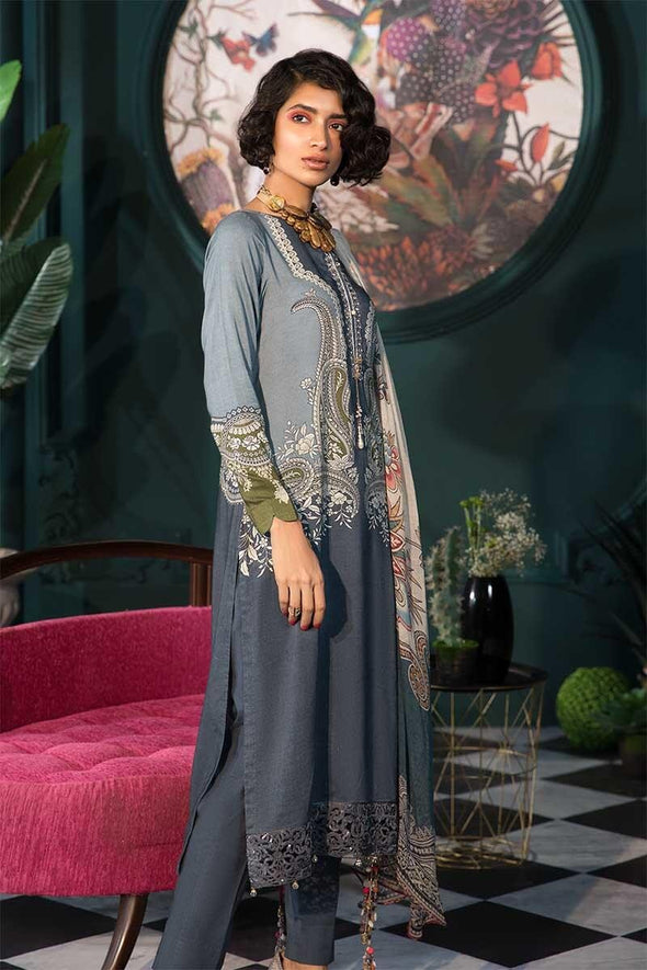 Pakistani designer linen outfit digitally printed in grey color # P2352
