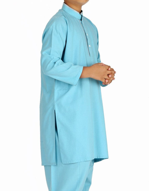 Pakistani machine embroidered outfit in light blue color # K2312