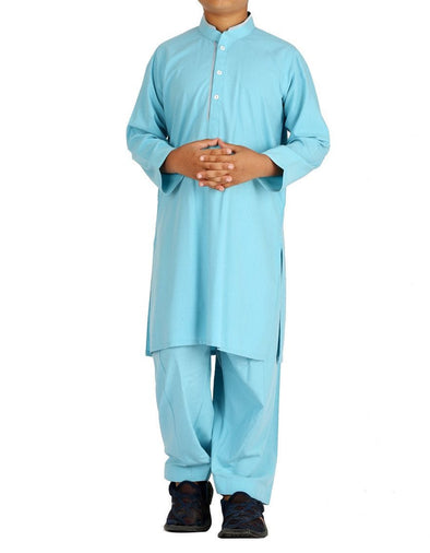 Pakistani machine embroidered outfit in light blue color