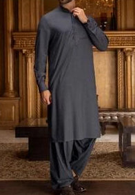 Mens Gala Work Shalwar Kameez Dark Blue and Black Color  1