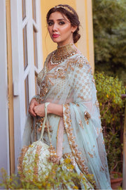 mint green Pakistani bridal lehenga