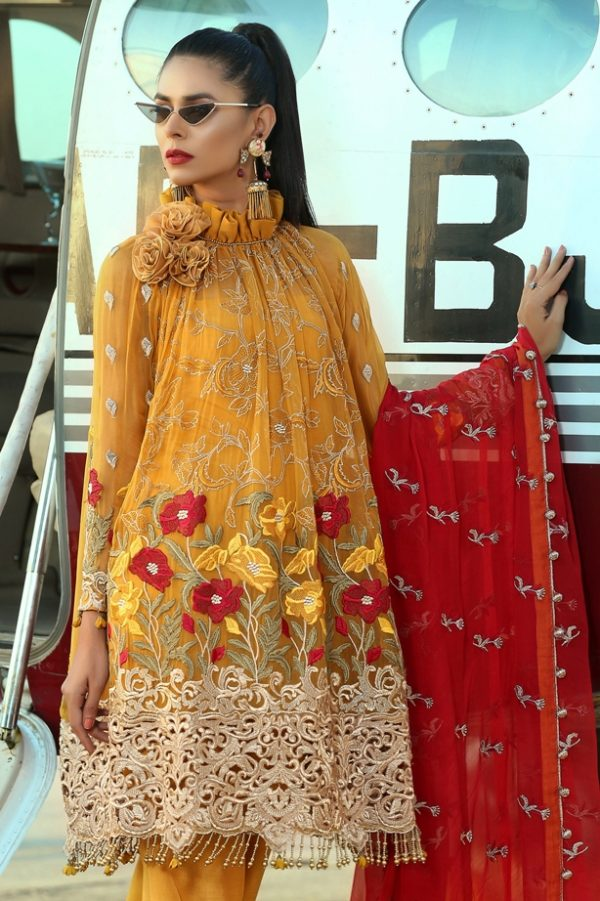 Trendy Mustard Suit in Chiffon 3