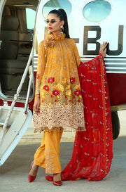 Trendy Mustard Suit in Chiffon