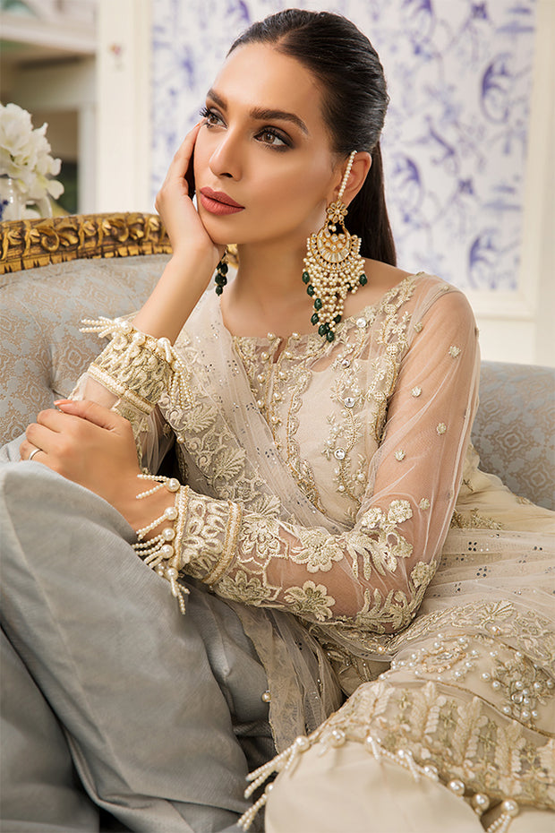 Pakistani designer net embroidered dress in skin color # P2327