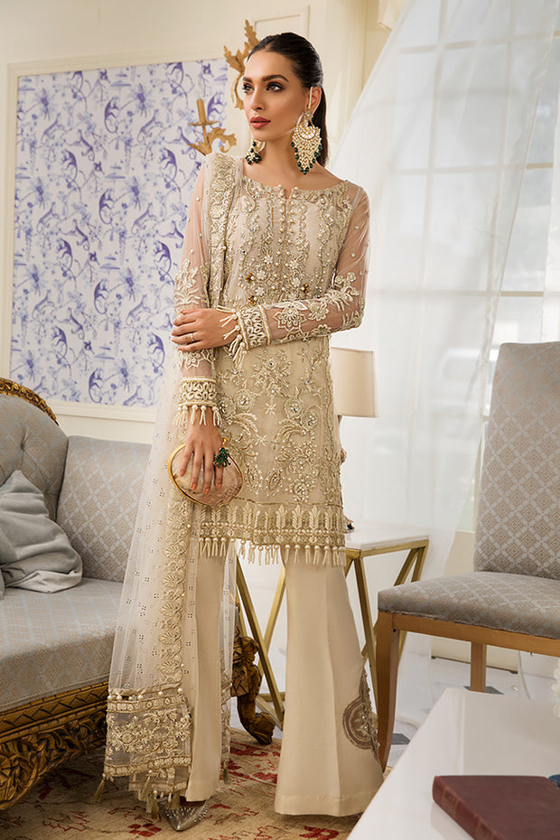 Pakistani designer net embroidered dress in skin color