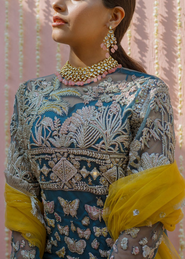Latest net embroidered gharara dress in blue color for wedding wear # B3415