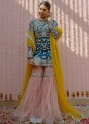 Latest net embroidered gharara dress in blue color for wedding wear