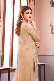 Beautiful Pakistani net embroidered outfit in brown color # P2335