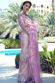 Latest designer embroidered net outfit for party wear in magenta color # P2428