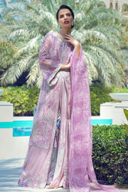 Latest designer embroidered net outfit for party wear in magenta color