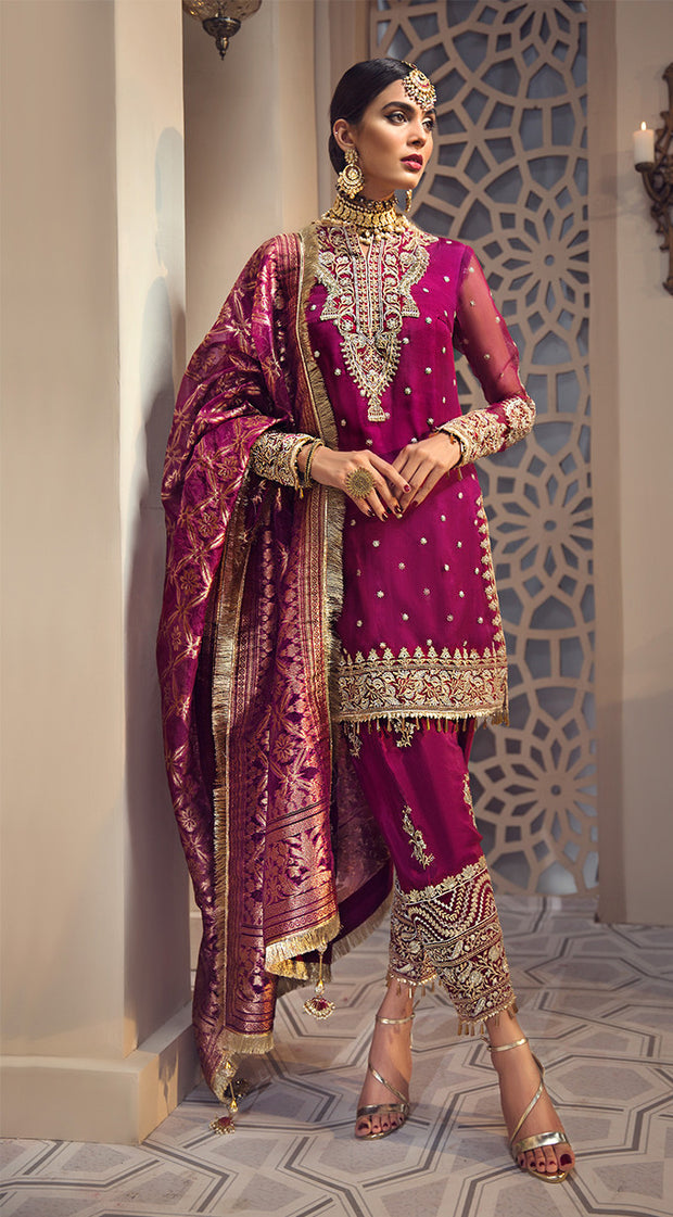Pakistani organza and jacquard dress in purlpe color # P2345