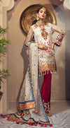 Pakistani organza and jacquard outfit in elegant white color # P2346