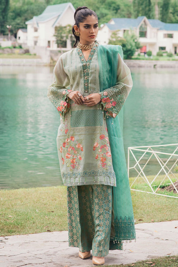 Pakistani organza and jamawar dress in tender green color # P2365