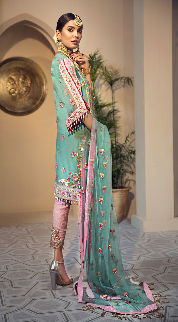 Pakistani organza embroidered outfit in blue and pink color # P2347