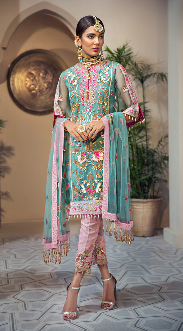 Pakistani organza embroidered outfit in blue and pink color