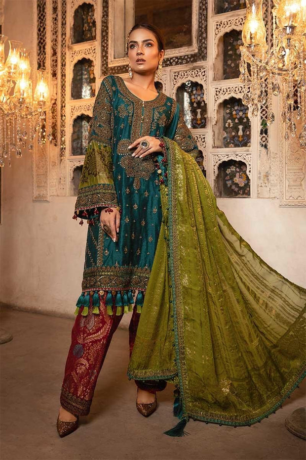 Pakistani designer party dress in Teal, green & ruby color # P2252