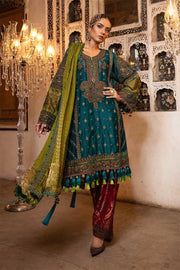 Pakistani designer party dress in Teal, green & ruby color