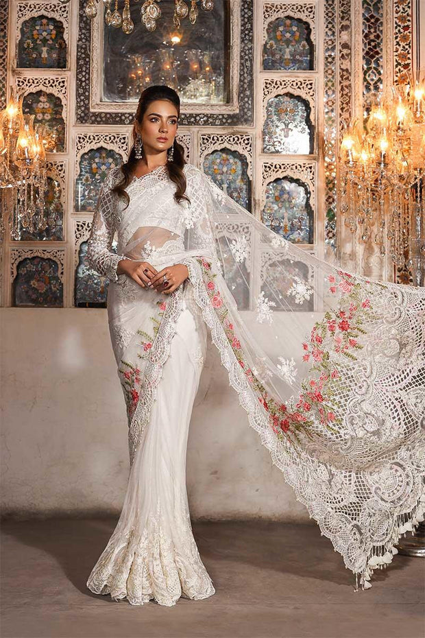Elegant Pakistani designer saree in pure white color