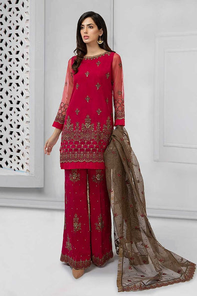 Fancy Pakistani designer suit in marjanda color