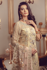Chiffon embroidered Pakistani eid shalwar kameez in lime color # P2490