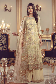 Chiffon embroidered Pakistani eid shalwar kameez in lime color