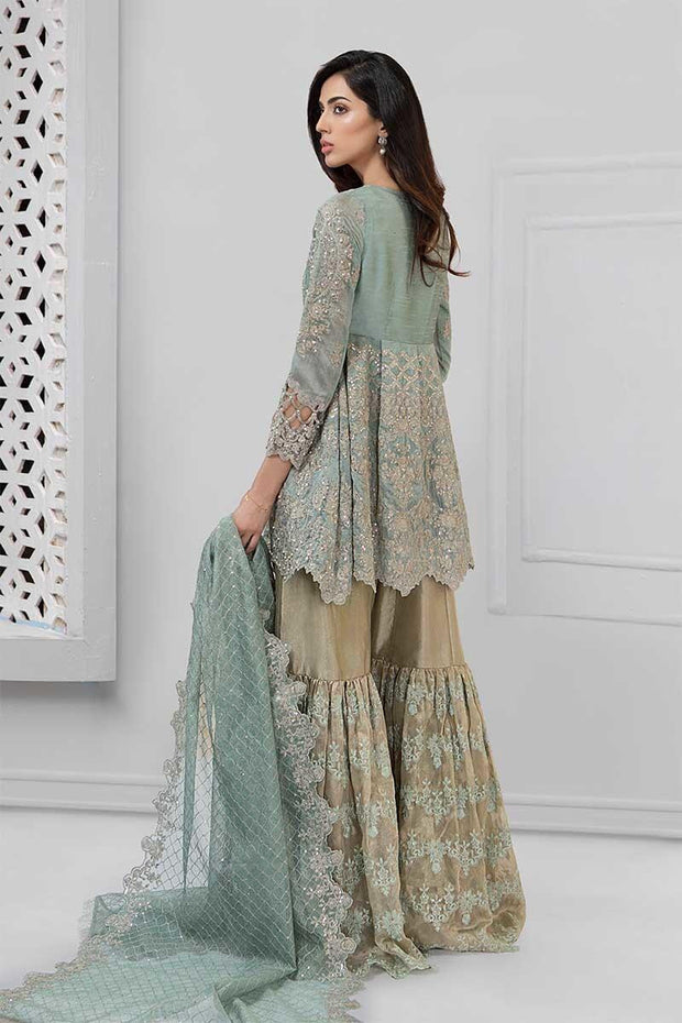 Pakistani embroidered party wear dress in aqua color # P2241