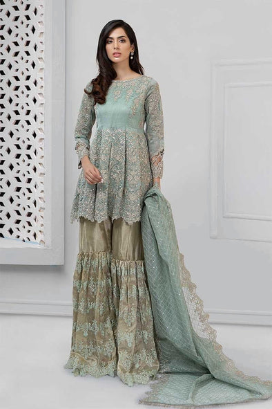 Pakistani embroidered party wear dress in aqua color