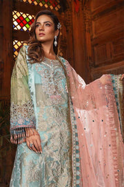 Pakistani fancy party dress in powder blue and coral color # P2251
