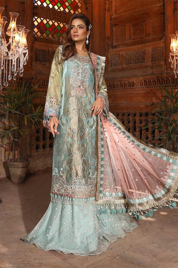 Pakistani fancy party dress in powder blue and coral color