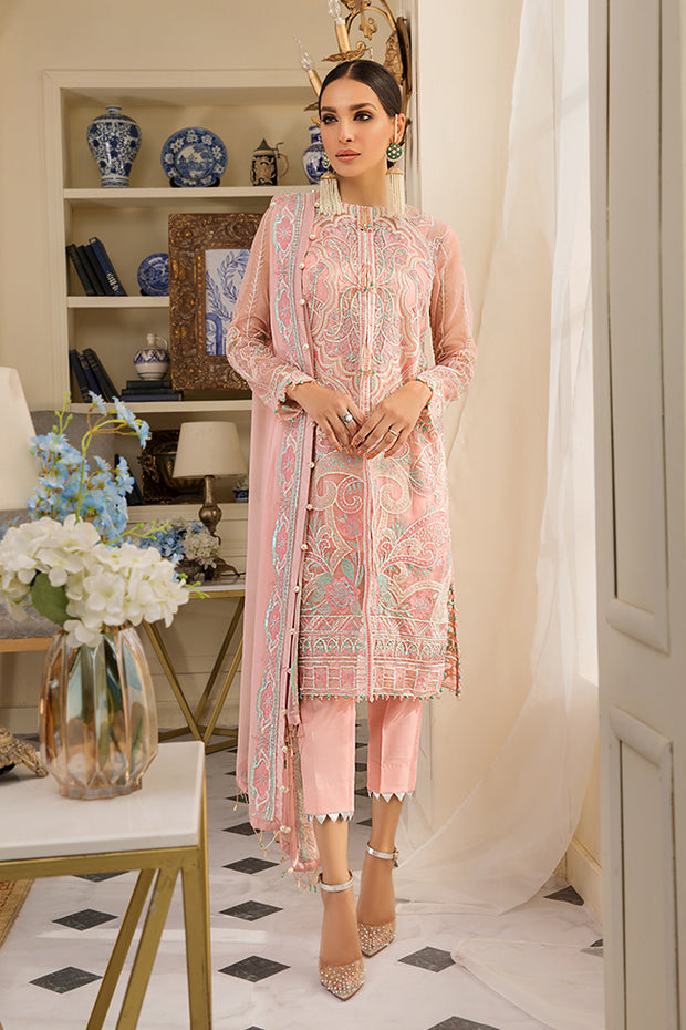 Elegant designer Pakistani organza dress in peach color # P2330