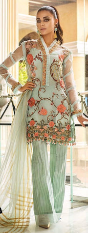 Beautiful Pakistani party wear dress in light green color # P2215